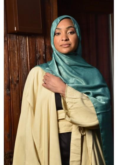 Hijab Taghanti en viscose vert d'eau