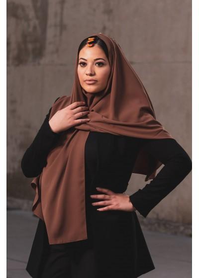 Hijab en soie de médine taupe