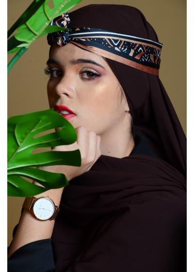 Hijab en soie de médine marron chocolat