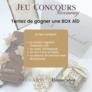 """🎁 {FERMÉ} JEU CONCOURS BOX CADEAU AÏD✨⠀⠀⠀⠀⠀⠀⠀⠀⠀ ⠀⠀⠀⠀⠀⠀⠀⠀⠀ La box Aid en collaboration avec @house_caring est en jeu !! 🎉⠀⠀⠀⠀⠀⠀⠀⠀⠀ ⠀⠀⠀⠀⠀⠀⠀⠀⠀ Tentez de remporter cette box qui contient:⠀⠀⠀⠀⠀⠀⠀⠀⠀ - un foulard de la collection Aïd⠀⠀⠀⠀⠀⠀⠀⠀⠀ - un mini Coran et tasbih⠀⠀⠀⠀⠀⠀⠀⠀⠀ - un dessous de verre en résine @house_caring ⠀⠀⠀⠀⠀⠀⠀⠀⠀ - un cadre en verre or """"Eïd Mubarak"""" @house_caring ⠀⠀⠀⠀⠀⠀⠀⠀⠀ ⠀⠀⠀⠀⠀⠀⠀⠀⠀ Jeu ouvert à la 🇫🇷 ⠀⠀⠀⠀⠀⠀⠀⠀⠀ ⠀⠀⠀⠀⠀⠀⠀⠀⠀ Pour y participer, abonnez-vous aux comptes @house_caring et @taghanti puis partagez la publication en story en nous taguant (pour les comptes fermés n'hésitez pas à nous envoyer une capture d'écran) ⠀⠀⠀⠀⠀⠀⠀⠀⠀ ⠀⠀⠀⠀⠀⠀⠀⠀⠀ ‼️ Bonus : commentez la publication en taguant 3 ami(e)s ⠀⠀⠀⠀⠀⠀⠀⠀⠀ ⠀⠀⠀⠀⠀⠀⠀⠀⠀ Résultats Jeudi 6 mai à 20h (vous pourrez ainsi recevoir la box avant la fête de l'Aïd ان شاء الله ✨)⠀⠀⠀⠀⠀⠀⠀⠀⠀ .⠀⠀⠀⠀⠀⠀⠀⠀⠀ .⠀⠀⠀⠀⠀⠀⠀⠀⠀ .⠀⠀⠀⠀⠀⠀⠀⠀⠀ .⠀⠀⠀⠀⠀⠀⠀⠀⠀ .⠀⠀⠀⠀⠀⠀⠀⠀⠀ #decoration #cadeauaid #resine⠀⠀⠀⠀⠀⠀⠀⠀⠀ #foulard #minicoran #boxaid #gift #aidgift #giveaway #jeuconcours #agagner #boxeid #cadrepersonnalise #ideecadeau #personnalisation"""
